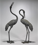Pair Tall Old Chinese Metal Cranes