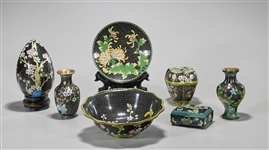 Group of Seven Chinese Black Ground Cloisonné Enamel Pieces
