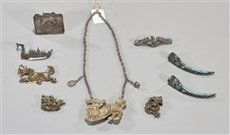 Group of Various Chinese Enameled Silver & Metalwork Pieces