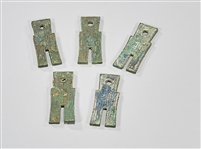 Five Chinese Bronze Money Pieces