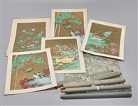 Large Group of Japanese Paintings and Rice Paper