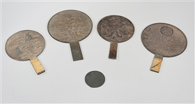 Group of Five Antique Japanese Bronze Hand Mirrors