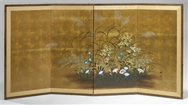 Japanese Four-Panel Painted Screen