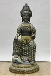 Massive Chinese Cloisonné Enamel & Bronze Seated Figure
