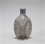 Chinese Export Silver Overlay Pinched Glass Decanter