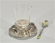 Japanese Enameled Silver Teacup, Spoon and Saucer