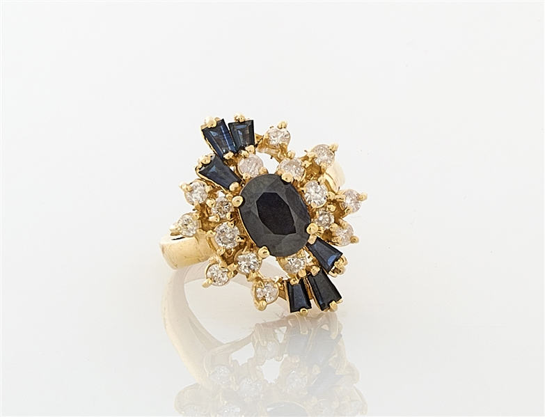 14K Yellow Gold, Sapphire & Diamond Ring