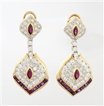 Pair 14KT Yellow Gold, Ruby & Diamond Earrings