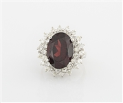 14K White Gold, Ruby & Diamond Ring