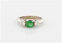 14K White Gold, Emerald & Diamond Ring