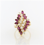 14K Yellow Gold, Ruby & Diamond Ring