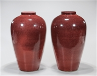 Pair Chinese Oxblood Porcelain Vases