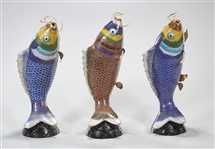 Group of Three Chinese Cloisonne Fish Models