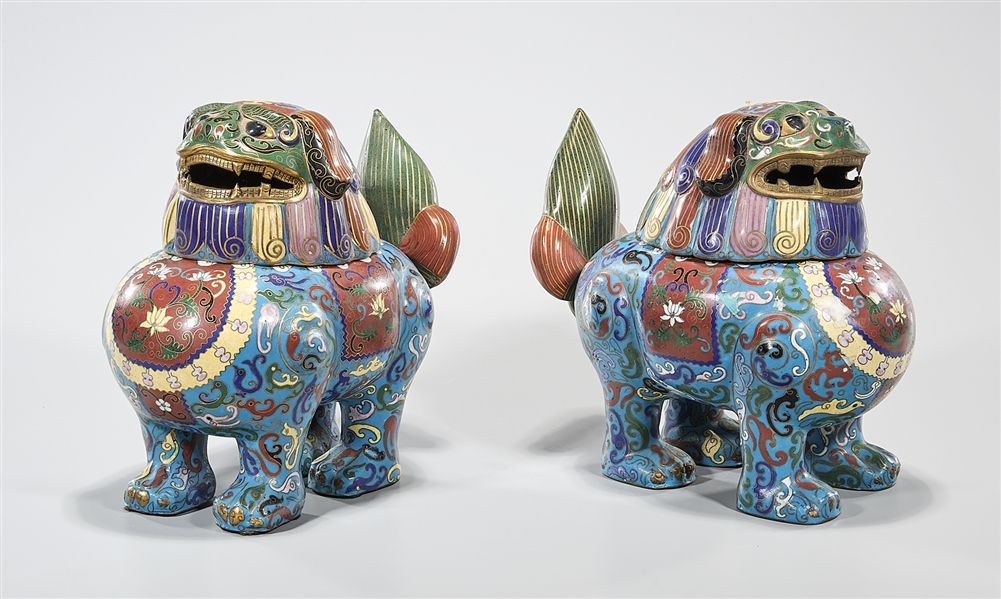 Pair Chinese Cloisonne Beast-Form Censers