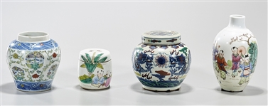 Group of Four Various Chinese Enameled Porcelains