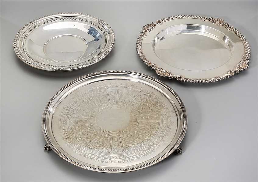 Group of Three Silver Plate Trays