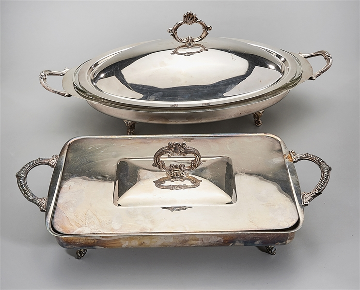Two Silver Plate Covered Dishes