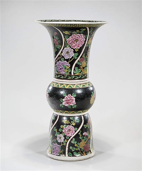 Chinese Enameled Porcelain Gu-Form Vase
