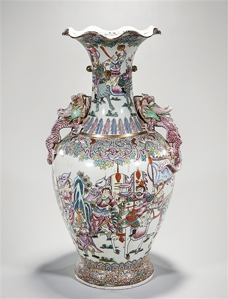 Tall Chinese Enameled and Painted Porcelain Vase