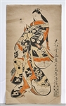 Two Antique Japanese Woodblock Prints by Torii Kiyonobu