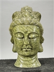 Chinese Green Carved Hardstone Head of Guanyin