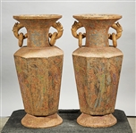 Pair Tall Chinese Polychrome Stone Vases
