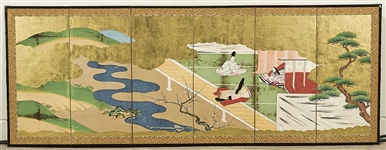 Antique Japanese Six-Panel Painted Paper Screen