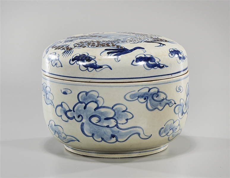 Korean Blue, Red and White Glazed Covered Round Box