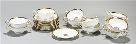 Group of Mintons English Gilt Porcelain Cups and Saucers